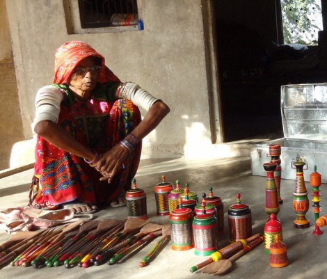 woman and lacquer work
